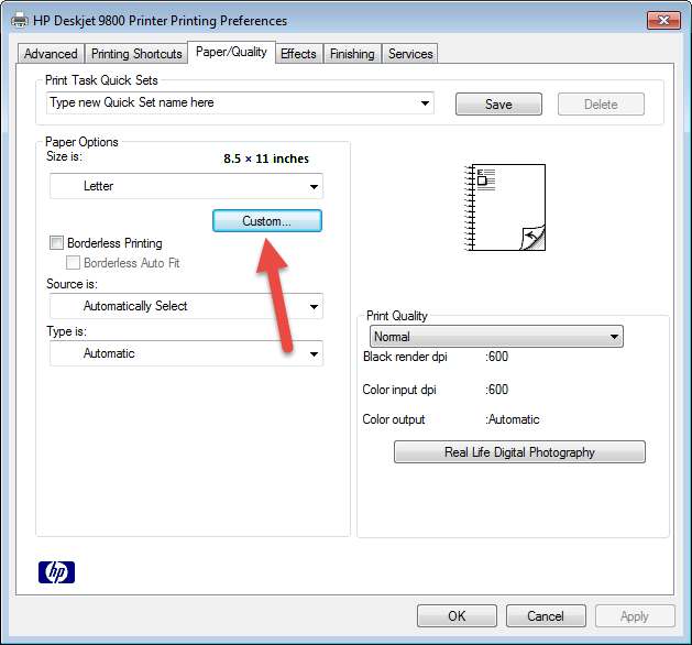 fix the missing custom size option for hp inkjet printers fix the missing custom size option for