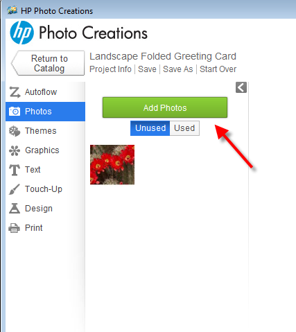 Basics of using HP Photo Creations for 9x6 25 card printing