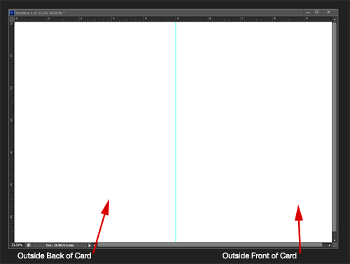 Photoshop cc cs6 cs5 greeting card setup tutorial the right side is the outside front of the card and the left is the outside back maxwellsz