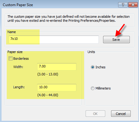 Define custom paper size windows 10