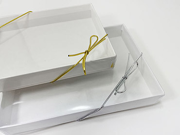 Gold and Silver stretch ribbon loops for boxes