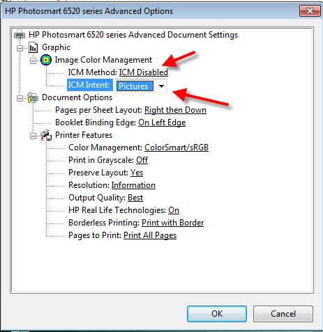ICC Printer Color Profiles HP Photosmart 6520 7520