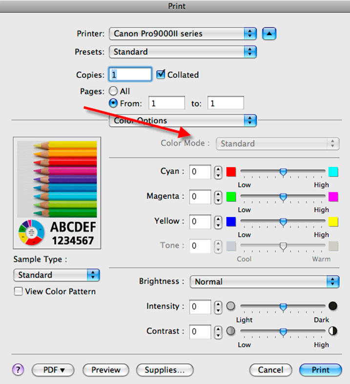 In The Color Options Menu Mode Should Be Grayed Out Click Print