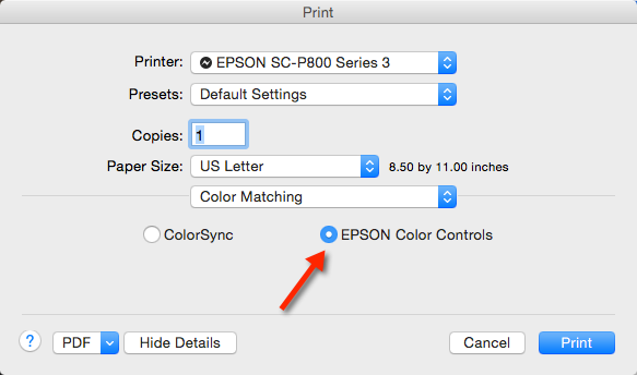 In The Print Dialog Go To Color Matching And Choose Your Printers Controls This Allows Printer Driver Management Software Control